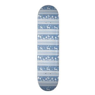 Blue And White Deer Family Moonlit Forest Skateboard Deck