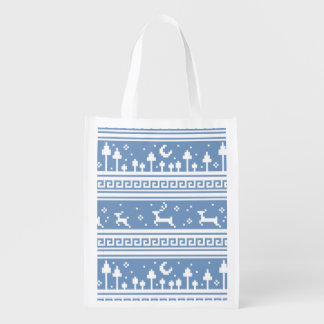 Blue And White Deer Family Moonlit Forest Reusable Grocery Bag