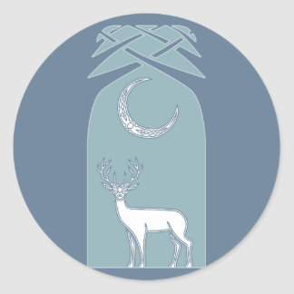 Blue And White Deer In The Forest Celtic Art Round Sticker