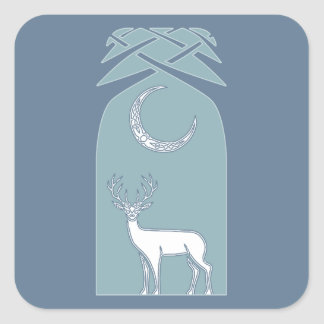 Blue And White Deer In The Forest Celtic Art Square Sticker
