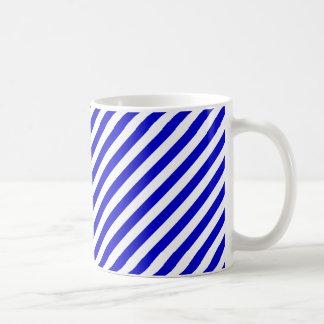 Blue and White Diagonal Stripes Basic White Mug