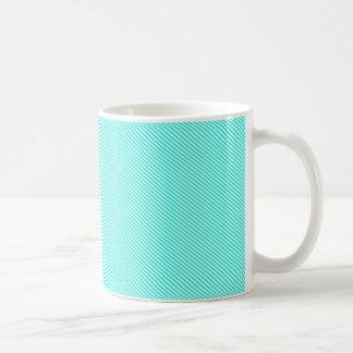 Blue and White Diagonal Stripes Coffee Mug