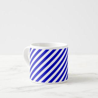 Blue and White Diagonal Stripes Espresso Mug