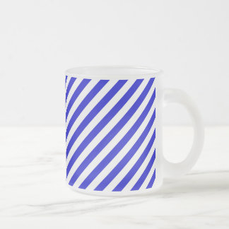 Blue and White Diagonal Stripes Frosted Glass Mug