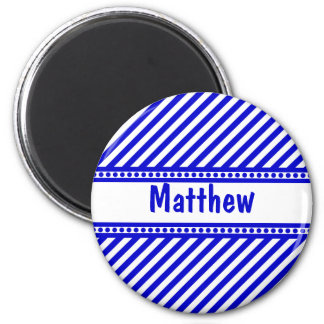Blue and White Diagonal Stripes Fridge Magnets