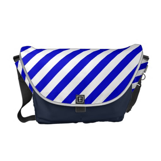 Blue and White Diagonal Stripes Courier Bags
