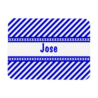 Blue and White Diagonal Stripes Rectangle Magnets