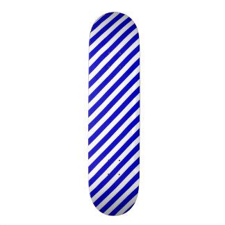 Blue and White Diagonal Stripes Skateboard