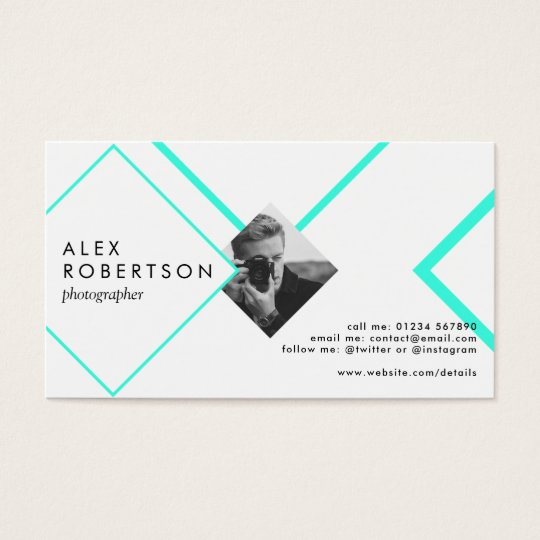 Blue and white diamonds portrait business card