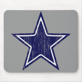BLUE AND WHITE DISTRESSED STAR MOUSE PAD