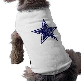 BLUE AND WHITE DISTRESSED STAR SLEEVELESS DOG SHIRT