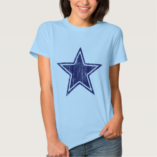 BLUE AND WHITE DISTRESSED STAR TEE SHIRT