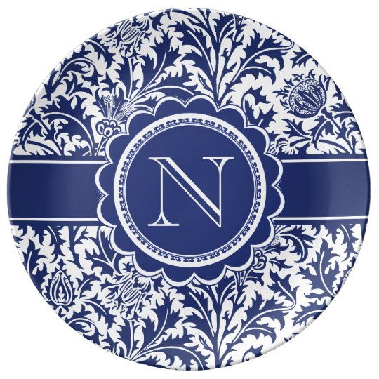 Blue and White Elegance William Morris Monogram Plate