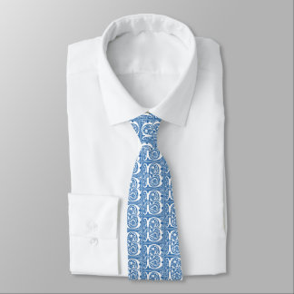 Blue and White Elegant Medieval Style Pattern Tie