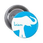 Blue and White Elephant Custom Monogram 6 Cm Round Badge