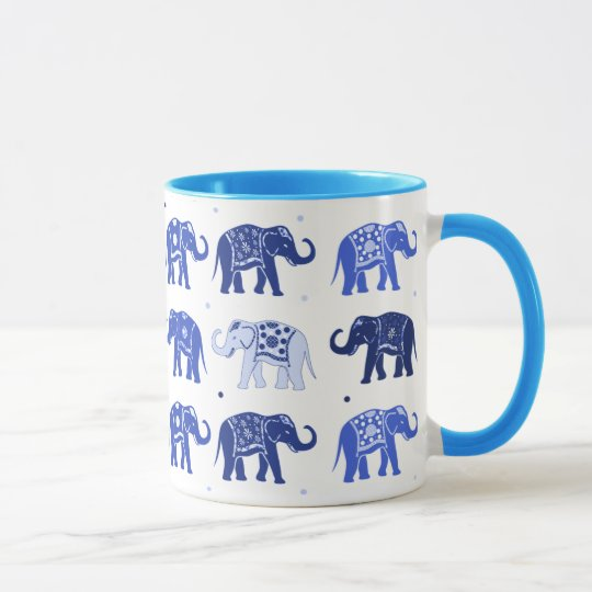 Blue and White Elephant Mug
