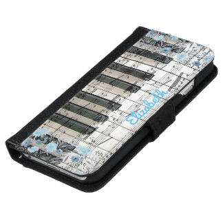 blue and white floral music piano keyboard iPhone 6 wallet case
