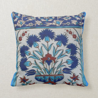 Blue and white floral Ottoman era tile design Cushion