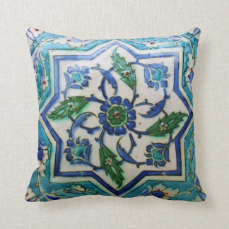Blue and white floral Ottoman era tile design Cushion