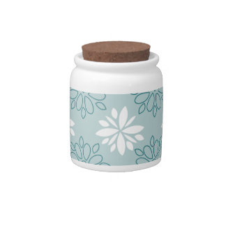 Blue and White Floral Pattern Candy Jars
