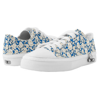 Blue And White Floral Pattern Printed Shoes