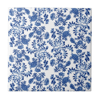 Blue and White Floral Small Square Tile
