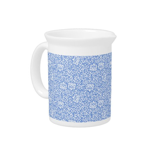 Blue and White Floral Tudor Damask Vintage Style Drink Pitcher