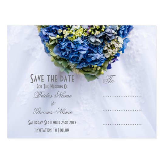 Blue and white floral wedding posy save the