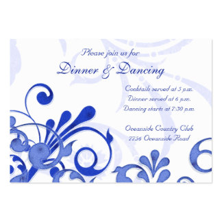 Blue and White Floral Wedding Reception Card Business Cards