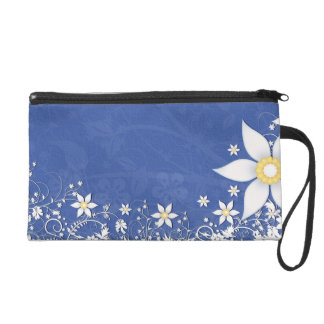 Blue and White Floral Wedding Wristlet