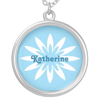 Blue and white flower monogram necklace round pendant necklace