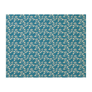 blue and white flower pattern wood canvas