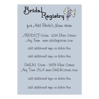 Blue And White Flowers Bridal Registry Cards Business Card Template
