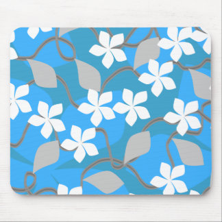 Blue and White Flowers. Floral Pattern. Mouse Pad