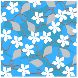 Blue and White Flowers. Floral Pattern. Acrylic Cut Outs