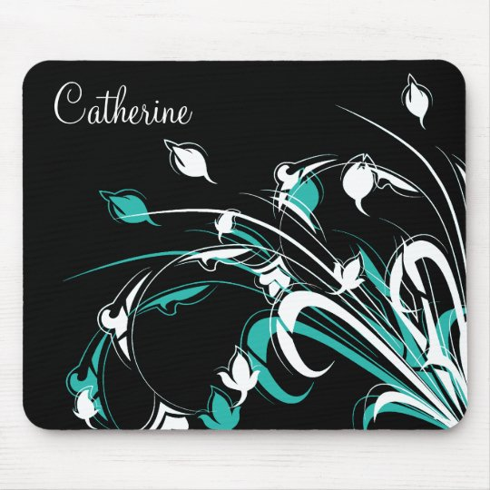 Blue and White Flowers on Black Mouse Mat