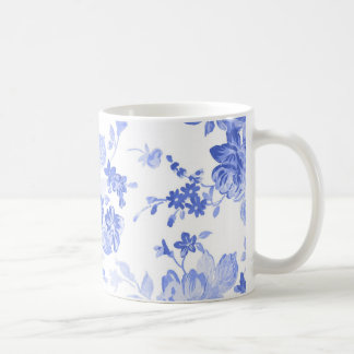Blue and White Flowers Pattern Coffee Mug