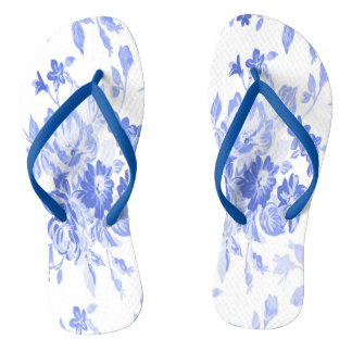 Blue and White Flowers Pattern Flip Flops