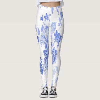 Blue and White Flowers Pattern Leggings