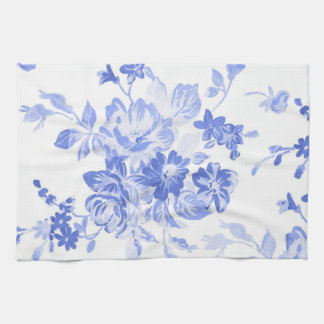 Blue and White Flowers Pattern Tea Towel