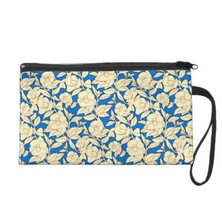 Blue And White Flowers Pattern Wristlet
