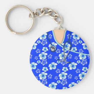 Blue And White Flowers Turtles Medical Scrubs Basic Round Button Key Ring