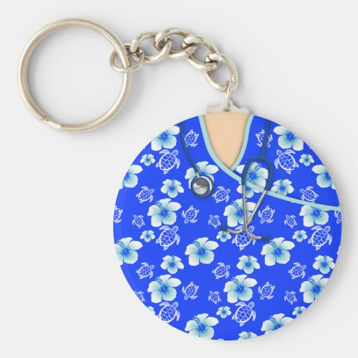 Blue And White Flowers Turtles Medical Scrubs Key Chains