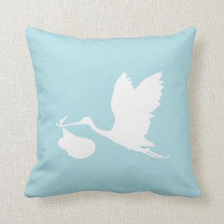 Blue and White Flying Stork Cushion