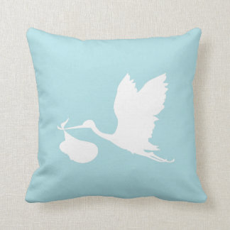 Blue and White Flying Stork Throw Pillow