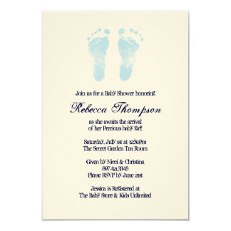 Blue and White Foot Prints Baby Shower 9 Cm X 13 Cm Invitation Card