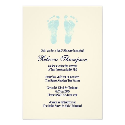 Blue and White Foot Prints Baby Shower Invitation