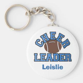 Blue and White Football Cheerleader KeyChain