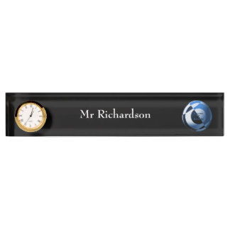 Blue and White Football Desk Name Plate