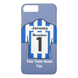 Blue and white Football Shirt Choose name and team iPhone 8 Plus/7 Plus Case